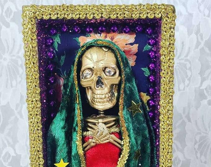 Handmade Day of the Dead Wood Altar Box Shadowbox ~ Nicho ~ Skeleton Mother ~ Bony Lady ~ Mexican Folk Art