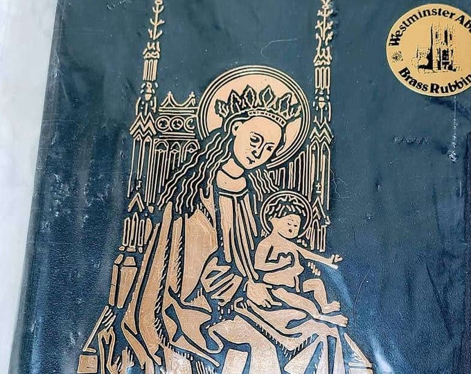 Rare Vintage Westminster Abbey Brass Rubbing Madonna Child Mary Jesus ~ Paper Ephemera Supplies ~ Destash ~ Crafts