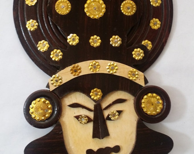 Large Handmade Wood Thai Buddha 3D Wall Hanging with Golden Embellishment Sequins 12x8 Boho Yoga Decor