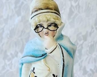 "Antique Heubach? 7"" Bisque German Boy Figurine with Applied Metal Glasses ~ Unmarked ~ Art Nouveau ~ Statue, Figurine ~ Hollow Bisque"