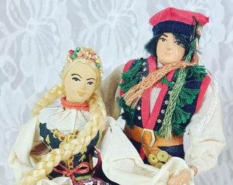 "Vintage Polish Wedding Dolls Hand Made in Krakow Lalki Regionalne 10"" ~ Bride and Groom ~ Wedding Cake Topper ~ Vintage Wedding"