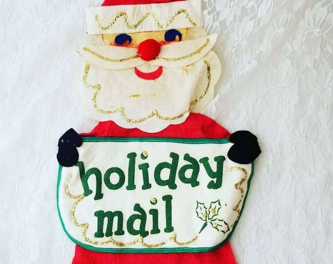 "1960s Kitschy Glittered Santa Claus ""Holiday Mail"" Christmas Card Holder ~ 26"" TALL! Felt Wall Hanging ~ Excellent Condition"
