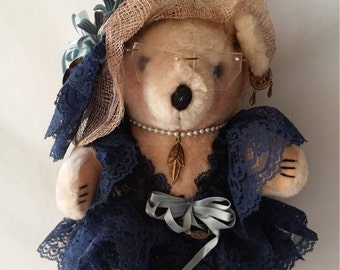 Handmade OOAK Jointed Art Bear Flapper Style Teddy Bear with Jewelry and Sinamay Hat