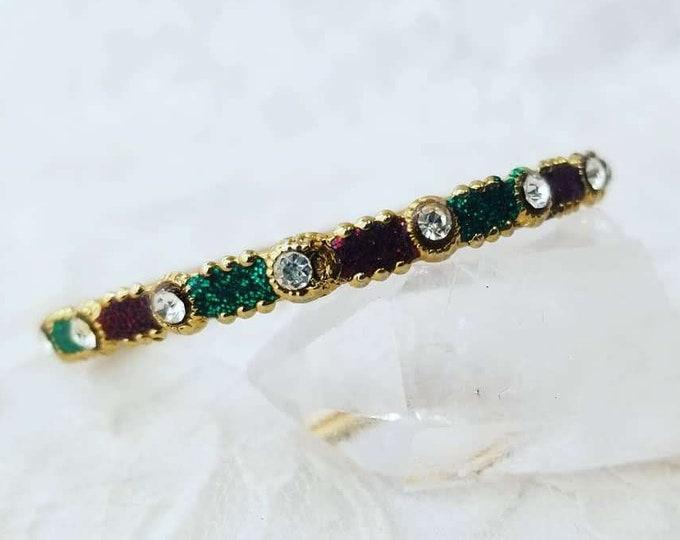 Child's Bollywood Gold Plated Vintage Bangle Bracelet ~ Size Newborn to Toddler ~ India ~ Vintage Find ~ Green Black Gold