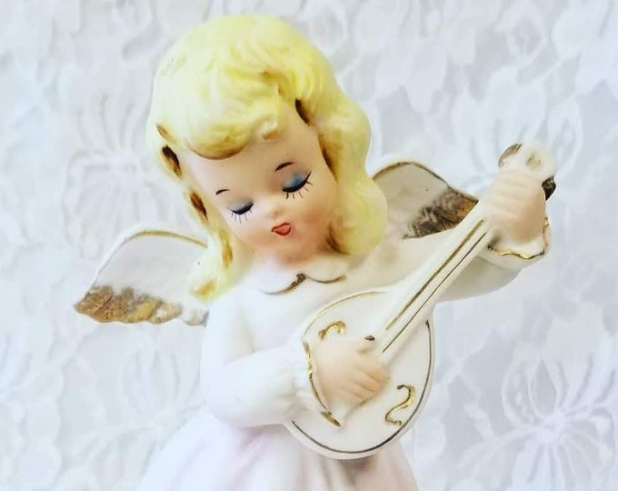 Adorable Angel Playing the Lute ~ Made in Japan in the 1950s ~ Collectible Music Box ~ Plays Silent Night