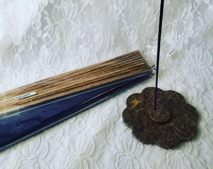 Stone Carved Lotus Flower Incense Burner ~ Resin Incense Holder ~ Holds 5 Sticks ~ Temple Incense Burner ~ Comes with 2 Packs Incense