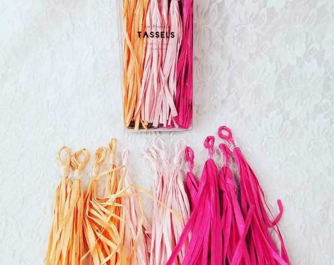 Destash Craft Supplies Set of 2 Boxes of 12 (24 total) of Multi Colored Paper Tassels and Garland String