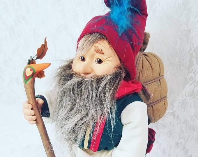 "Vintage 1990s Brinn's Hidden Kingdom Hunkle the Peddler Troll Gnome Elf 14"" Doll ~ RARE Limited Edition Doll ~ No Tags or COA"