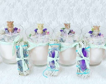 ALMOST GONE! Gift Sets! HUGE Crystal Candle with Silk Wrapped Sage Bundle ~ Carved Agate Owl ~ Soy Wax Candle & Charged Crystals