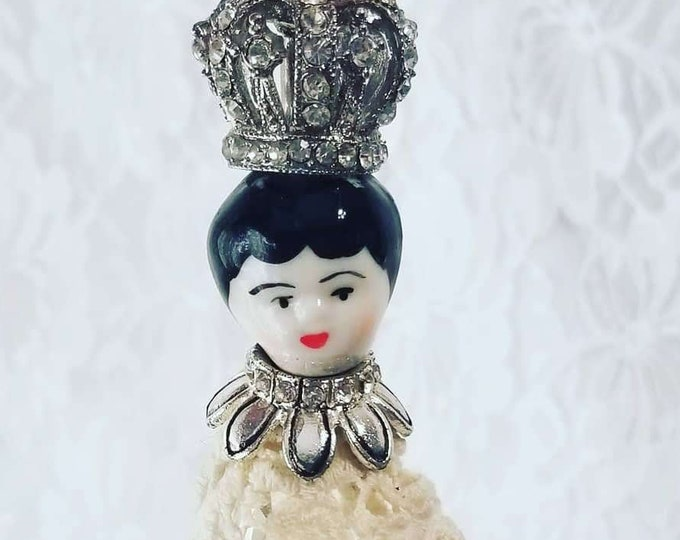 Handmade REpurposed Victorian Crystal China Head Porcelain Doll Head Ornament ~ Victorian Christmas ~ Doll Collection ~ Antique Doll Head