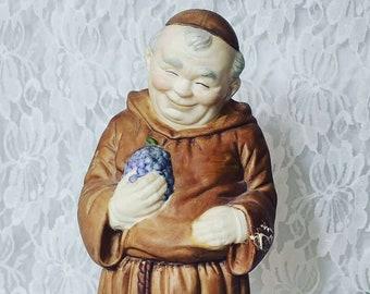 "Vintage 1950's Monk Holding Grapes ~ Junipero Serra? ~ 11"" Friar Catholic Monk Padre ~ Porcelain Statue Figurine"