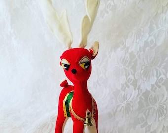 Super RARE 1960s Antique Stuffed Deer ~ Christmas Deer ~ Dakin Deer ~ Made in Japan ~ Sawdust Filled ~ Dakin Dream Pets