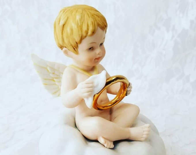 "Adorable ""Heavenly Helpers Collection"" Christmas Angel ~ The Halo Polisher ~ Collectible Music Box ~ Plays Unknown Song"