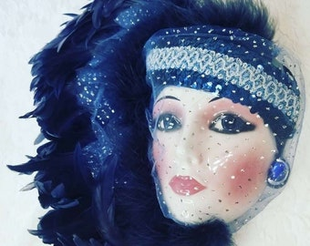 Venetian Feather Porcelain Face Mardi Gras or Carnival Mask ~ Harlequin ~ Flapper Woman ~ Bright Blue Feathers