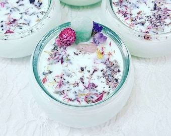 Price Reduced! Yummy Good Vibes Manifestation Ritual Candle ~ Hand Poured Soy Wax Spellcast ~ Charged Crystals & Fresh Herbs ~ Smells GOOD