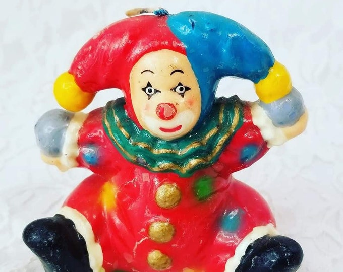 Harlequin French Mime Mardi Gras Jester Wax Sculpture Candle ~ Figure Figurine Collectible ~ Creepy Clown
