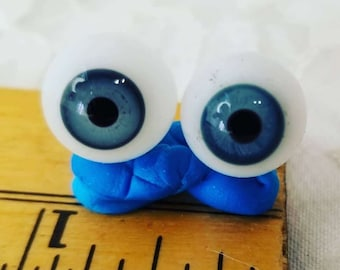 Vintage Blown Glass Doll BLUE Eyes 12mm Wide ~ Repair Restoration or Parts ~ Doll Making ~ Doll Eyes
