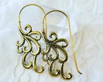 Longline Brass OOAK Ethnic Hoop Earrings ~ Made in India
