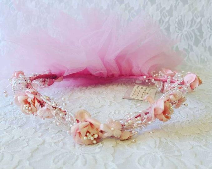 Vintage PINK Roses and Pearls Headpiece Fascinator Veil ~ Tulle Pearl Beads Headpiece ~ Headband Wedding Bridal