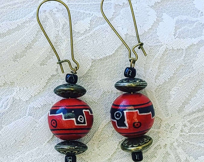 Repurposed Native American Inspired Earrings ~ Wood ~ Red Painted Wood Ball Beads ~ Upcycled Earrings