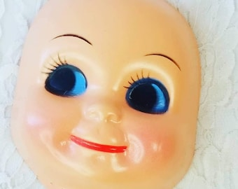 Vintage Plastic Caucasian Face Doll Head ~ Side Eye ~ Doll Making ~ Doll Parts ~ Unmarked