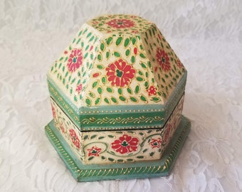 Handmade Wooden Jewelry Box ~ Hand Painted ~ Moroccan Style Hinged Geometric Box ~ Octagon Shaped Box