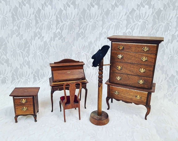 Miniature Wooden Bedroom Six Piece Set for Dollhouse ~ 1:12 Scale ~ Vintage Dollhouse Furniture ~ Signed and HANDMADE 1970s
