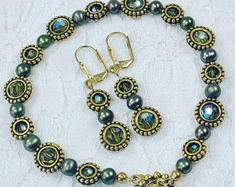"""OOAK Jewelry SET Earrings + 9"""" Bracelet ~ Amber Aura Swarovski Faceted Crystal Beads w/Grey Pearls & Brass Accents ~ 24kt Gold Plated"""