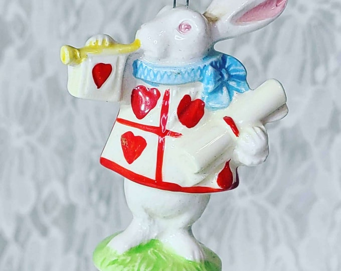 RARE! Vintage 1979 A Company Of Friends Alice In Wonderland White Rabbit Ceramic Ornament ~ Made in Japan