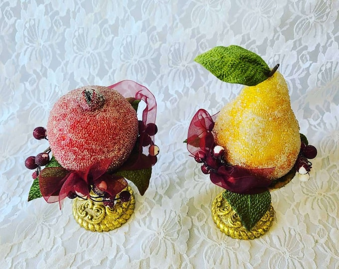 Very Old  Set of Two (2) ~ Victorian Sugared Fruit Pedestals ~ Glass Beaded Fruit ~ Christmas and Thanksgiving