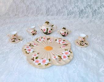 Cherry Blossom Resin Miniature Tea Set ~ American Girl Sized Miniature Tea Set ~ Collectible Tea Set