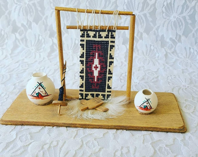 Handmade Native American Cool Handmade Native American Bead Weaving Loom with Real Fur, Tools and Pottery ~ For Doll Display