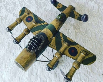 Vintage Metal Folk Art Airplane ~ WW2 Fighter Bomber ~ Free-Standing ~ Handmade ~ Gift for a Pilot or Veteran ~ Gift for Grandpa