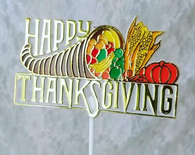 Vintage DESTASH Lot of Ten (10) Plastic Happy Thanksgiving Floral Picks ~ Cake Topper ~ Cupcake Topper ~ Thanksgiving ~ Fall Decor