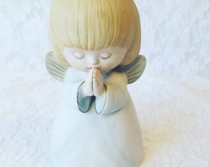 Vintage Praying Cherub Angel Light Up Night Light Lamp Figurine Little Girl ~ Needs Cord ~ As-Is