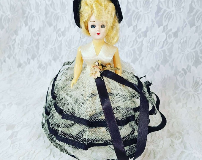 """Antique 8"""" Doll Mohair ~ Sleepy Eyes ~ Tulle Dress ~ Removable High Heel Shoes ~ Dress Me Doll ~ 1950s Collectible Doll"""