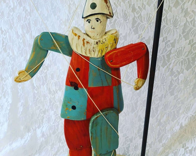 """RARE Wood Carved Articulated Pierrot with Stand ~ Collectible Vintage Marionette ~ 4 String Action ~ HUGE 20"""" Tall on a 30"""" Puppet Stand"""