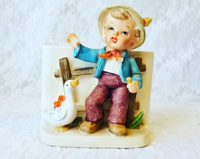 Vintage 1958 Napco Planter ~ Hummel Style Boy with Goose and Horn ~ C3495B ~ Good Condition