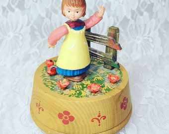 """Vintage ANRI Reuge Carved Wood Girl Playing Music Swiss Music Box Made In Italy ~ Plays """"Music Box Dancer"""" ~ Missing Cello ~ Sold As-Is"""
