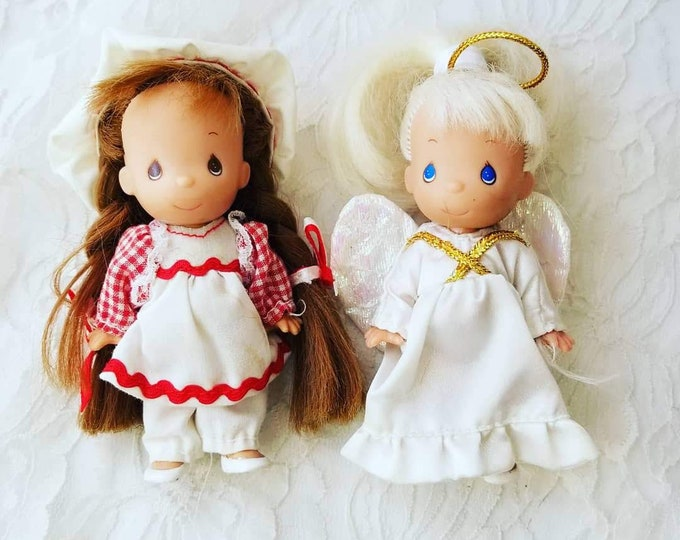 "RETIRED Set of Two (2) Precious Moments 5"" Vinyl Dolls ~ Rose Art ~ Gift for Mom ~ Gift for Kid ~ No Tags ~ No Original Box"