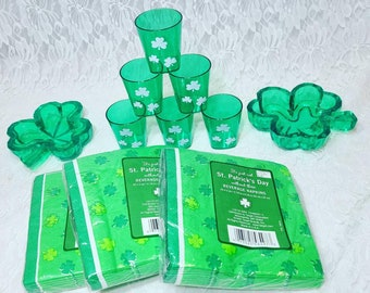 Destash Party Supplies Saint Patrick's Day Party ~ 3 Packs of Napkins, 6 Plastic Shot Glasses and 2 Plastic Shamrock Dishes