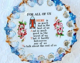 Rare Vintage Pierced Plate With Quote ~ Grandmother Gift ~ Decorative Plate Wall Hanging