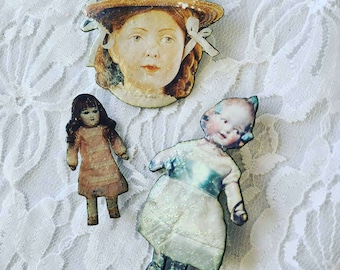 Handmade Set of 3 Doll Brooches Pins ~ Antique Dolls ~ Mixed Media Jewelry ~ Signed ~ Unique OOAK Brooch Pin Lapel
