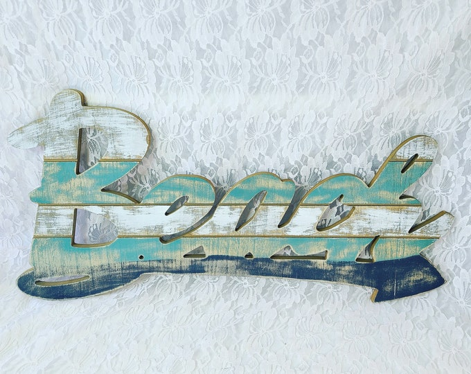 """Large Hanging Wood MDF Board BEACH Sign with Pointing Arrow Showing Direction To The BEACH ~ Shabby Chic Painted Sign ~ 23"""" Long x 12"""" Tall"""