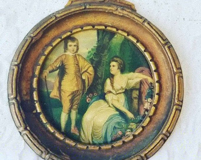 """Beautiful Florentine Print in Round Frame ~ Made in Italy ~ Young Boy with Older Young Lady ~ 5.5"""" wide by 6"""" tall"""