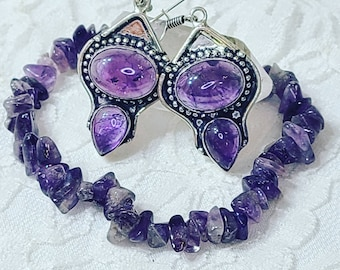 Jewelry Set ~ Amethyst Earrings and Bracelet Set ~ Healing Crystal Energy ~ Protection Against Psychic Attack