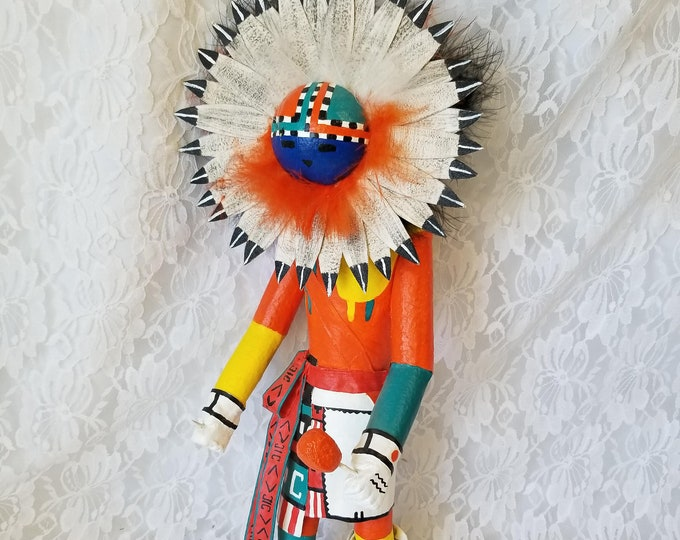 WEIRD Handmade Paper Mache Real Feather Native American Kachina Doll ~ 16 Inches ~ Strange and Unusual