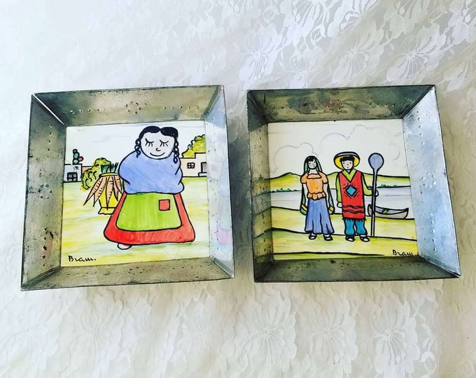 Antique 1900-1940 Pair of Hand Painted Ceramic Tiles Framed By H & R Johnson ~ England ~ Signed Painted Tiles
