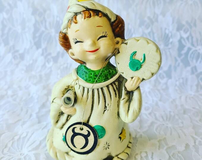 "Vintage 1960s Josef Originals Taurus Wizard with Scroll and Original Tags ~ Figurine ~ 6"" ~ Marked  ~ Taurus, Horoscope, Zodiac"