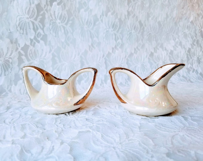 Iridescent Art Deco Sugar and Creamer Set ~ Vintage Pearl Company 22kt Gold Trim ~ Small Size ~ Lusterware Pearlized White